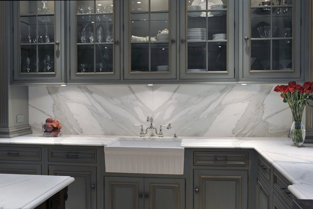 Traditional style kitchen with gray colored cabinets