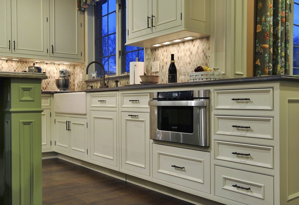 Traditional style kitchen with classic white cabinets