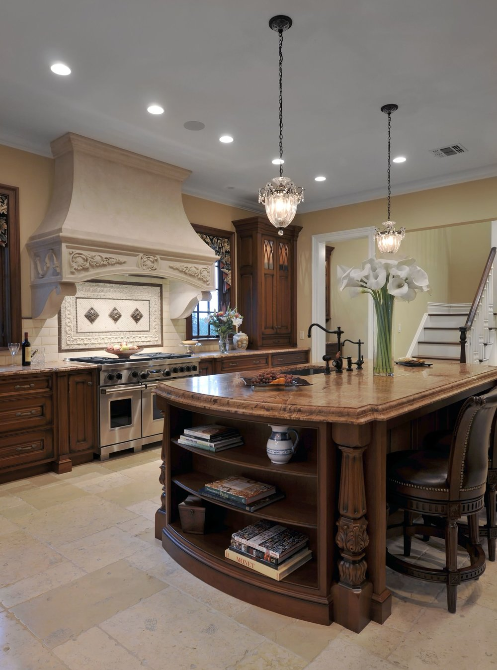 Traditional style kitchen with custom built center island