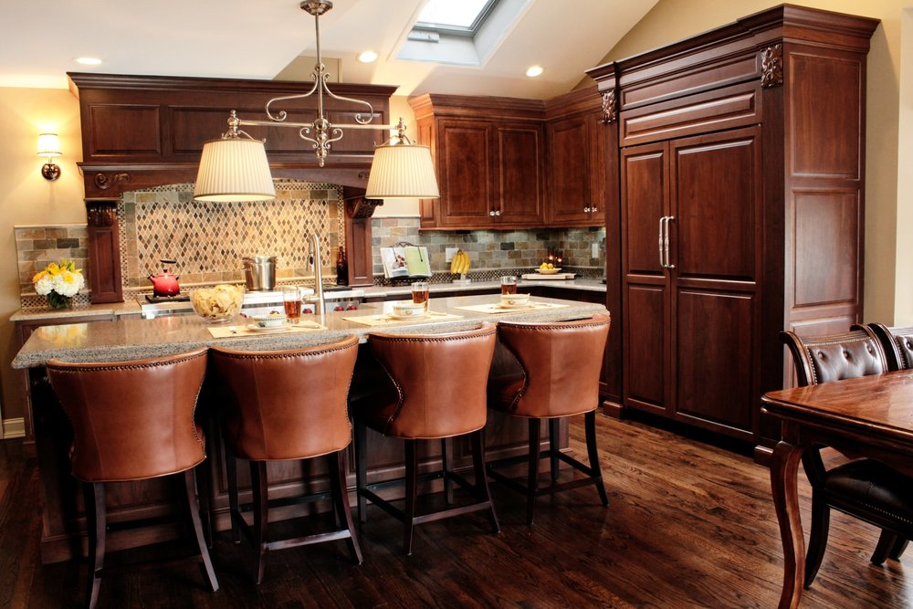 Traditional style kitchen with two light chandelier