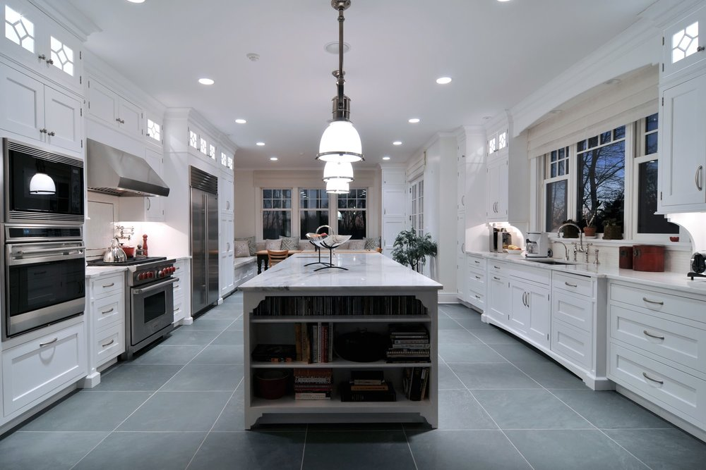 Traditional style kitchen spacious and tiled floor