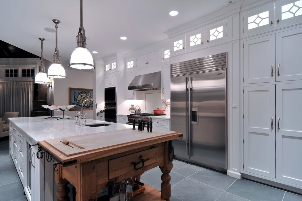 Traditional style kitchen with large cabinets for storage