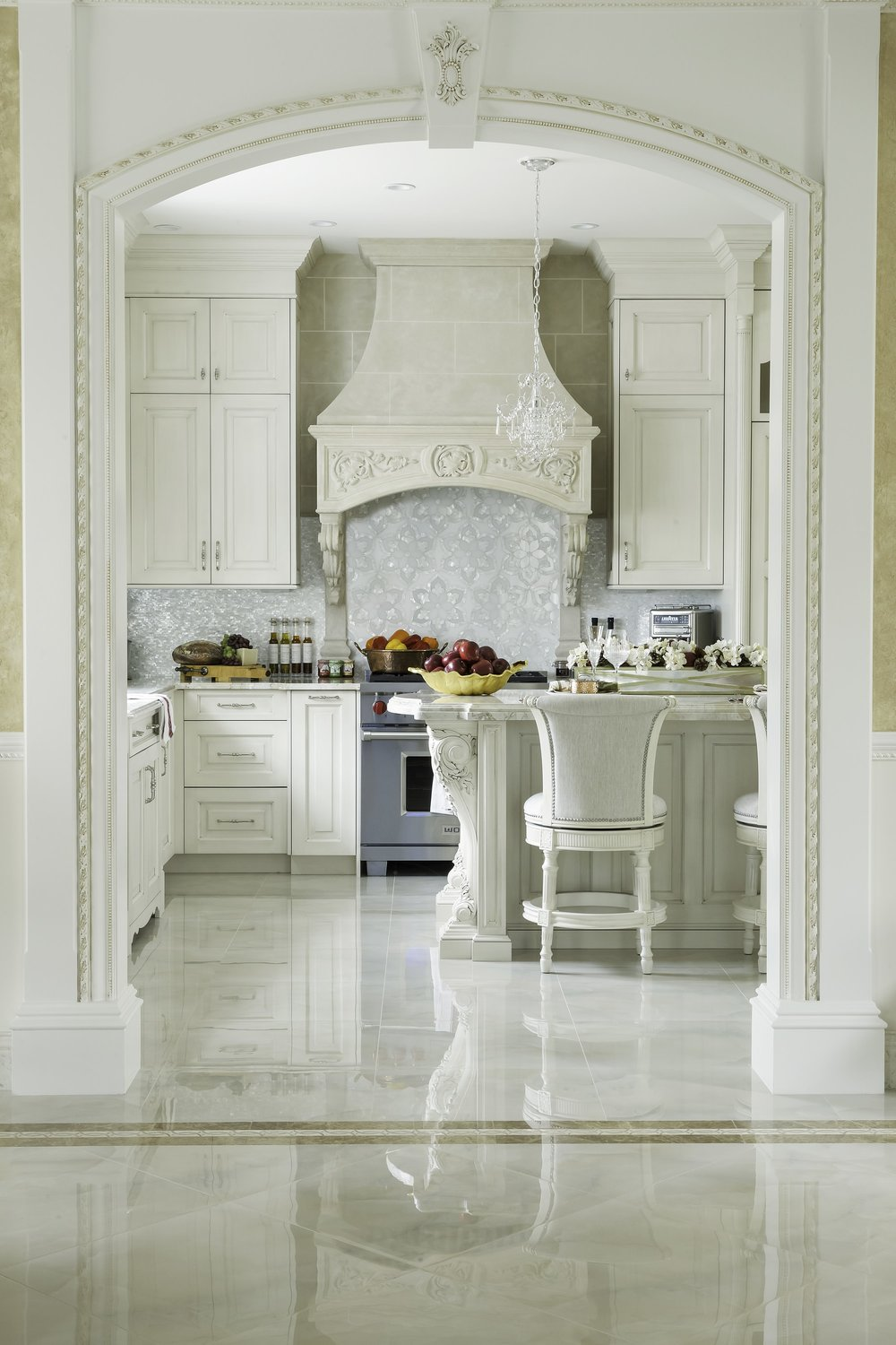 Traditional style kitchen with classic white background