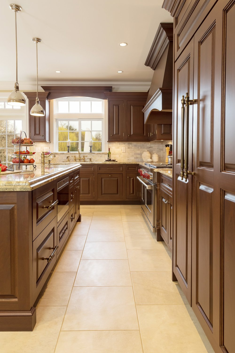 Traditional style kitchen with wooden brass cabinet