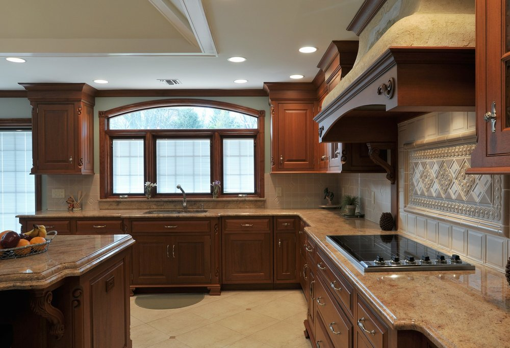 Traditional style kitchen with induction cooker