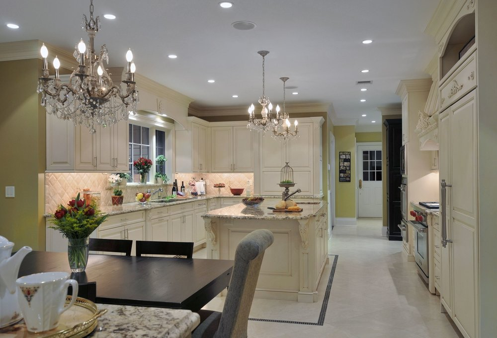 Traditional style kitchen with two beautiful crystal chandelier