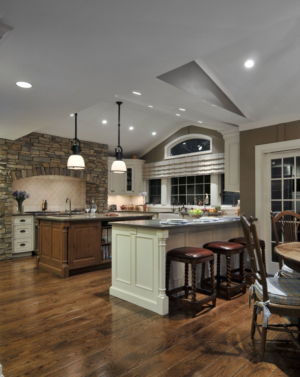 Traditional style kitchen with spacious hardwood floor