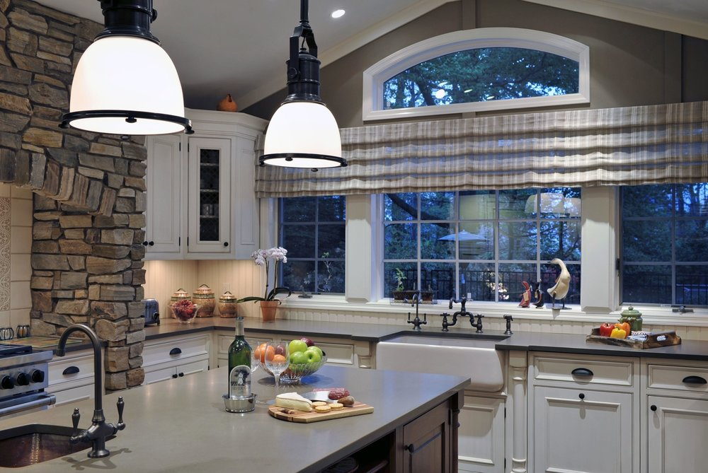 Traditional style kitchen with wide bay window