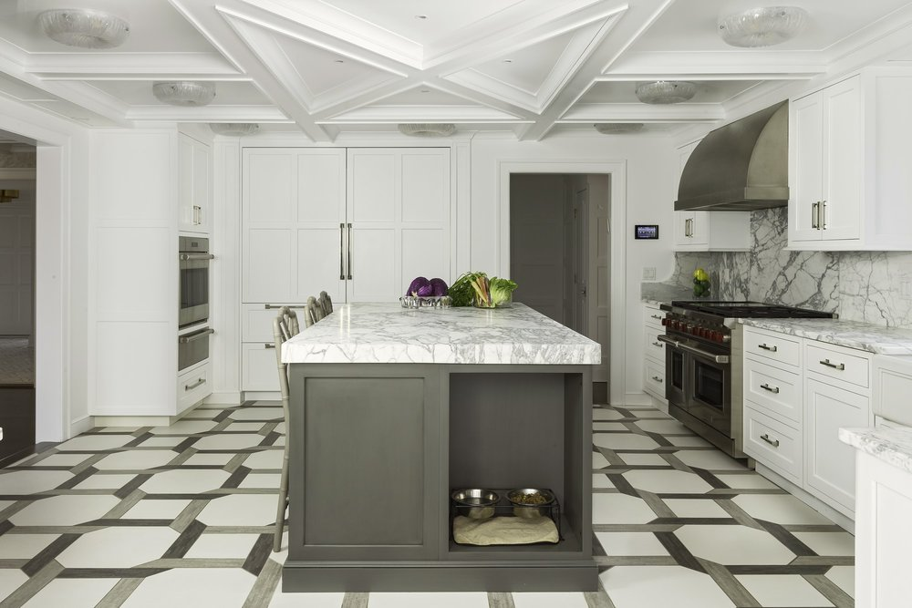 Transitional style kitchen with spacious floor and stylish ceiling