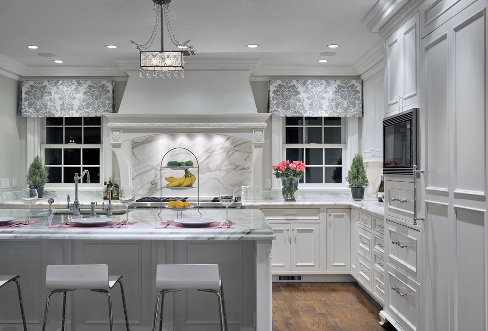 Transitional style kitchen with two french window at the corner