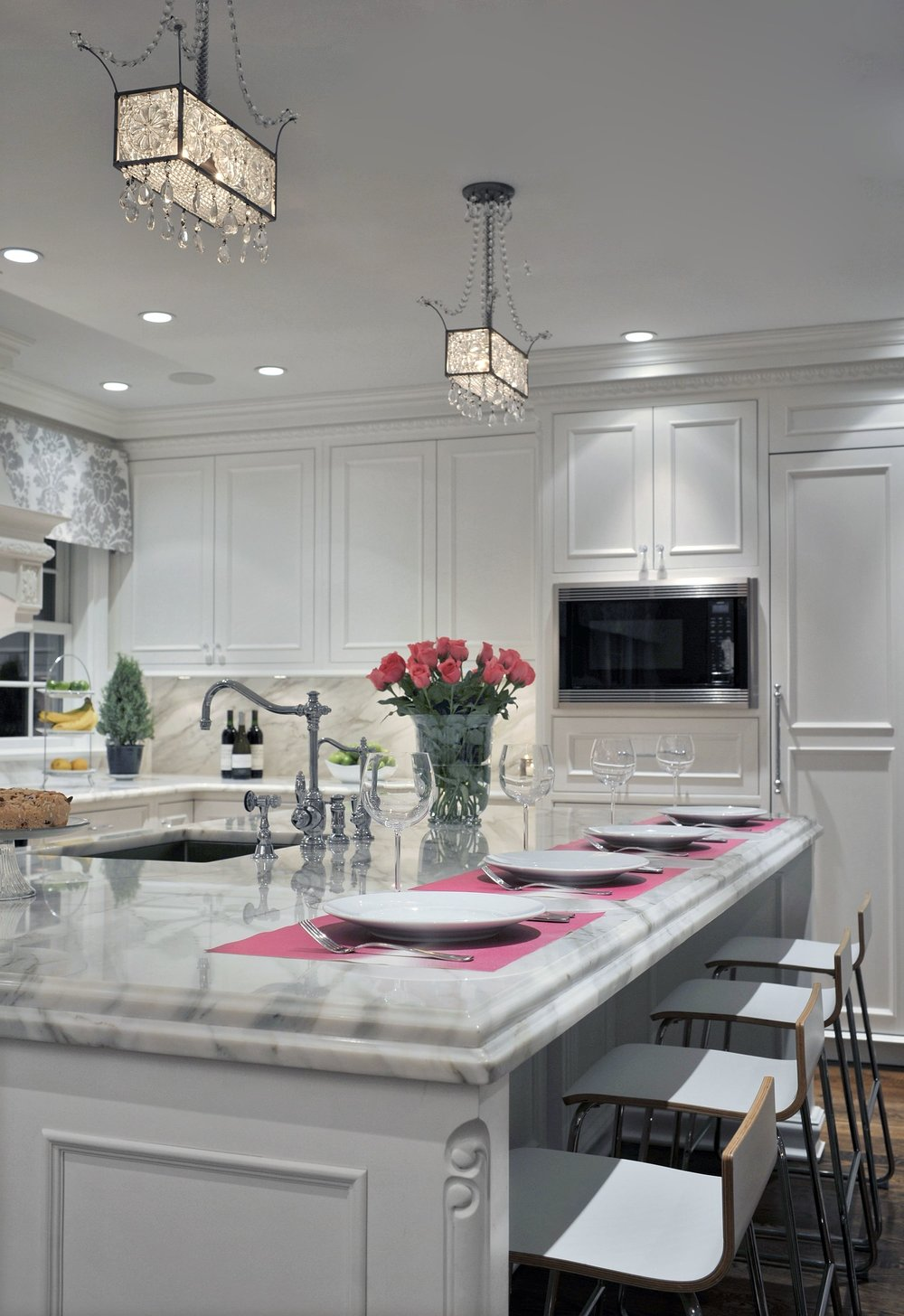 Transitional style kitchen with modern light fixture