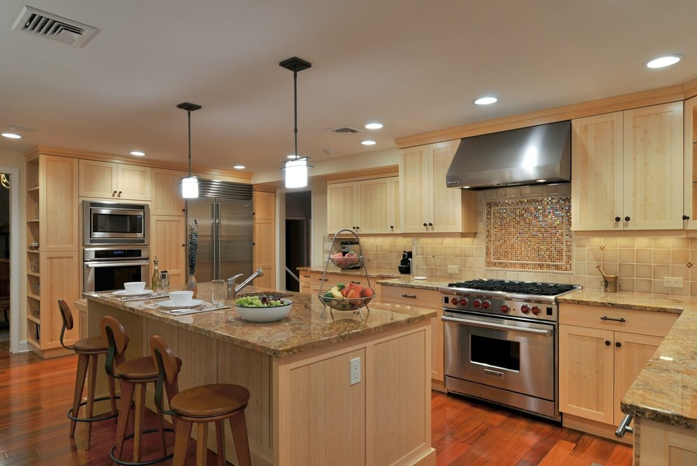 Transitional style kitchen with classic wood style themed kitchen