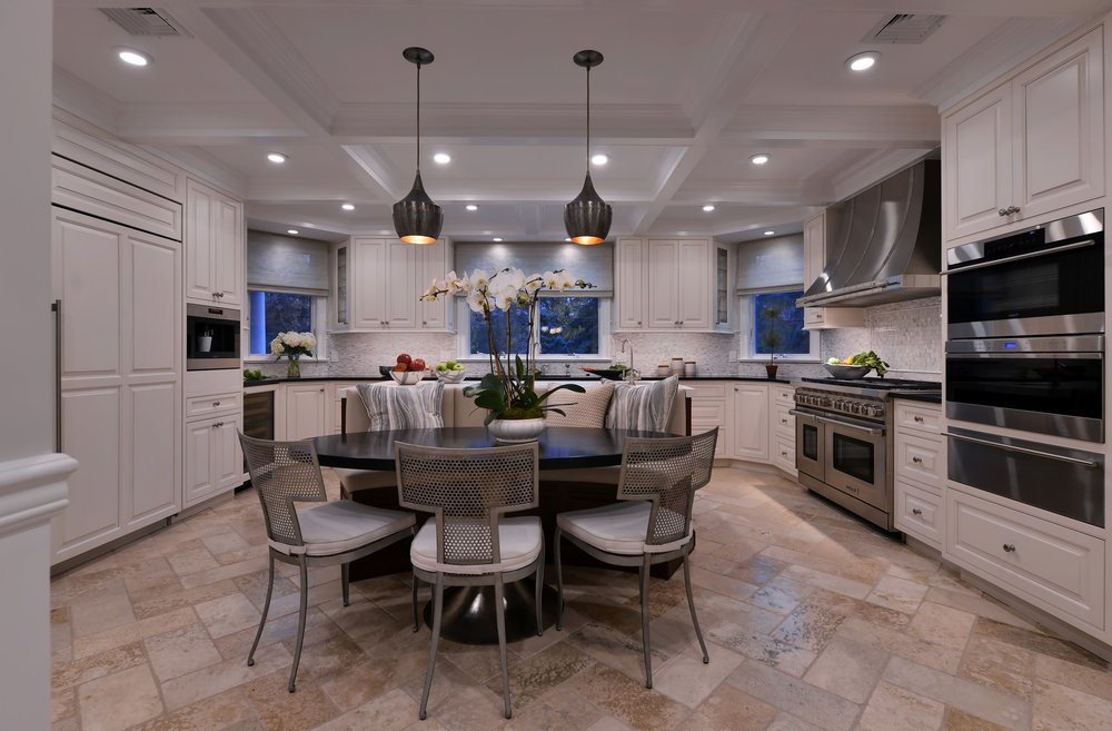 Transitional style kitchen with breakfast table