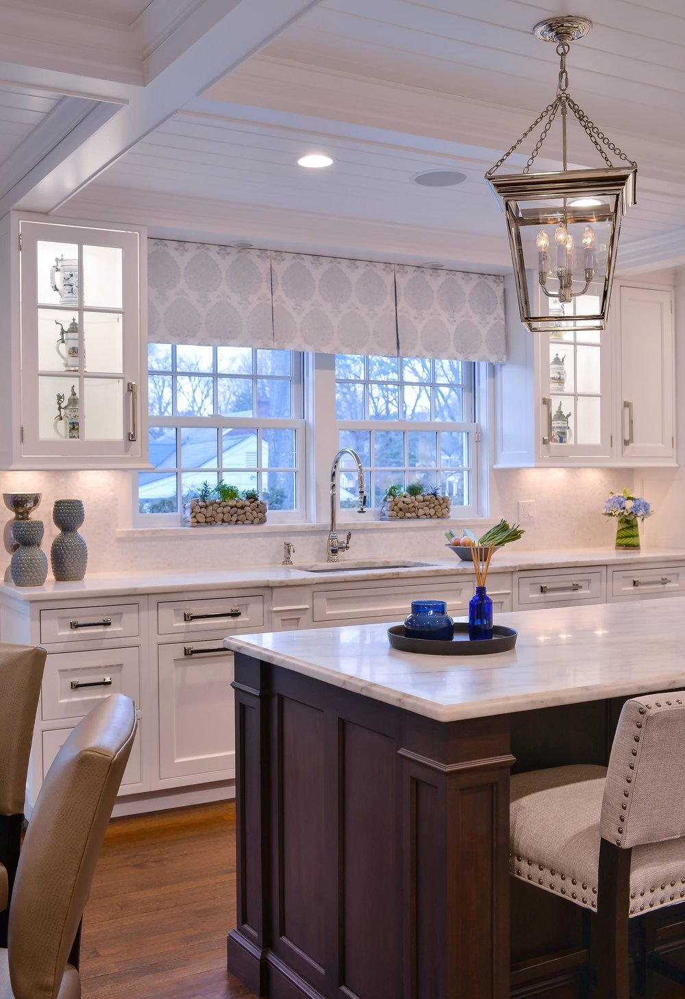 Transitional style kitchen with two classic french window