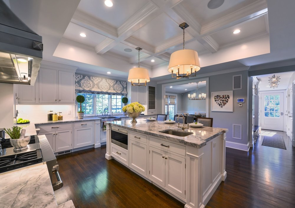 Transitional style kitchen with spacious hardwood floor