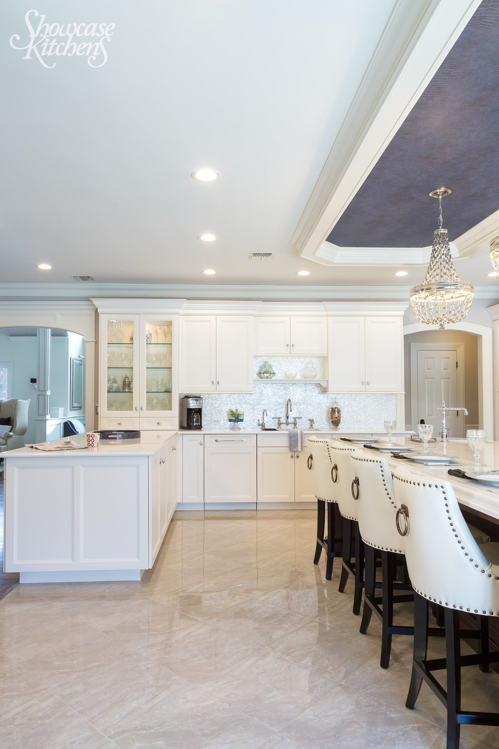 Transitional style kitchen with spacious floor and an open plan design