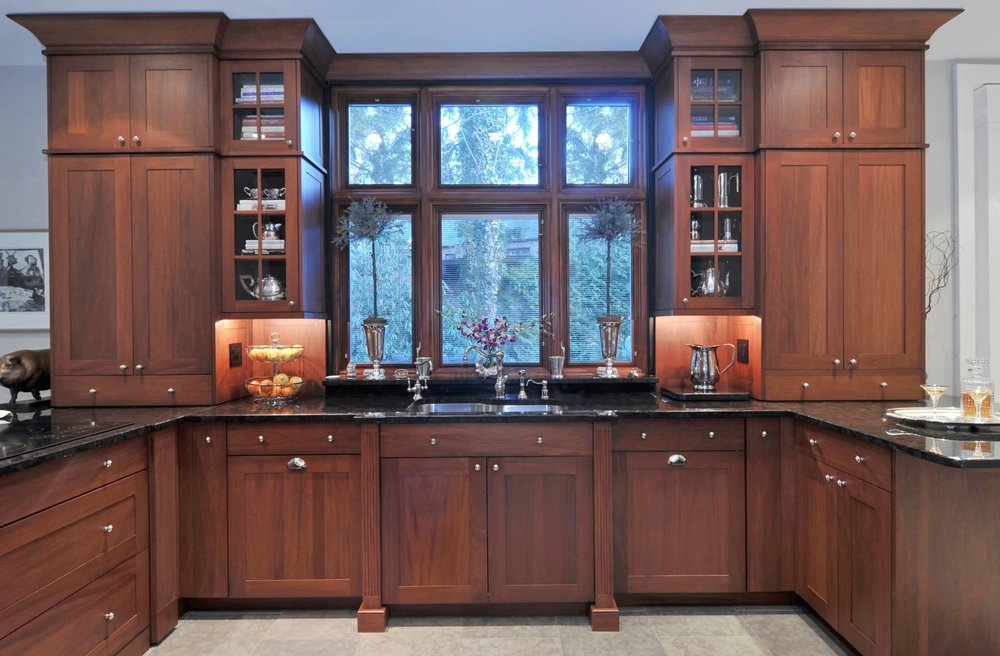 Transitional style kitchen with cabinets and pull out drawers