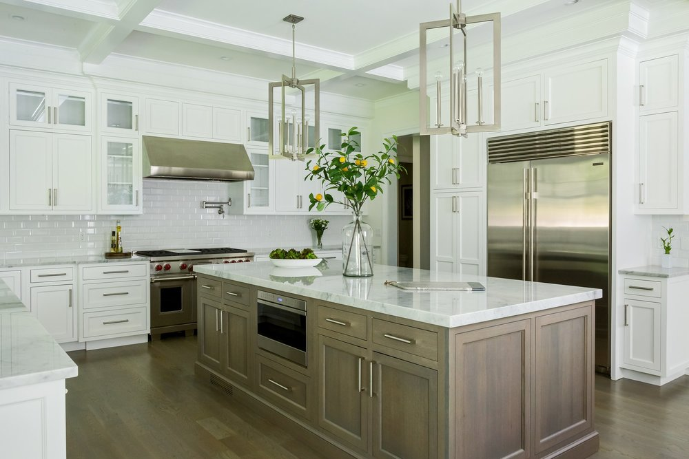 Transitional style kitchen with spacious wood floor