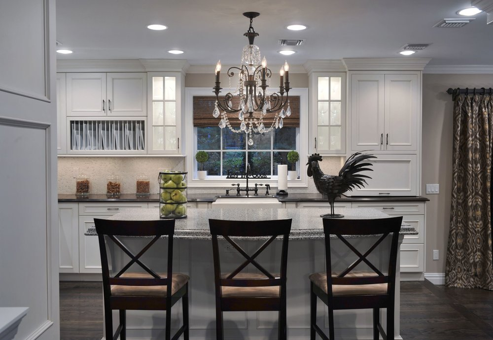Transitional style kitchen with candle chandelier