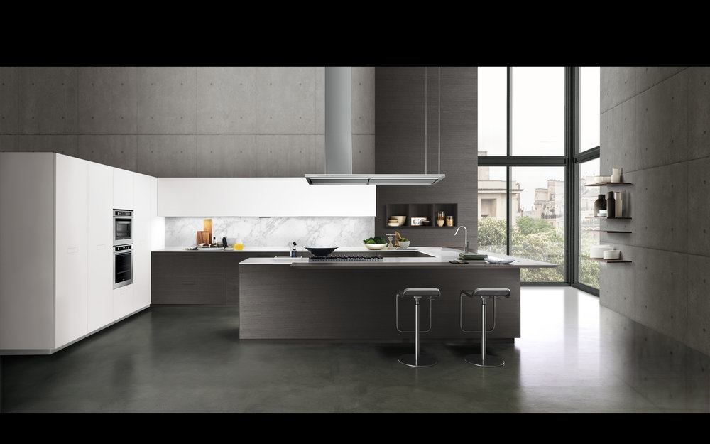 Contemporary style kitchen with an open space design