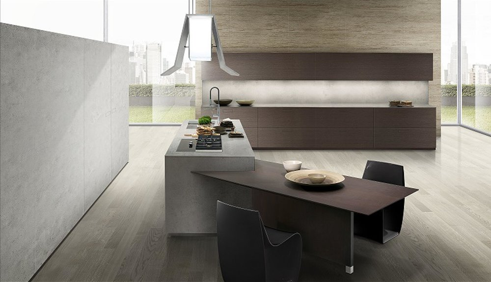 Contemporary style kitchen with kitchen counter and a breakfast table
