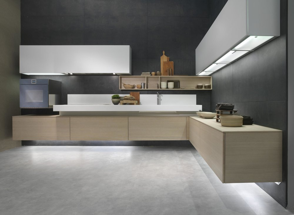 Contemporary style kitchen with open shelves