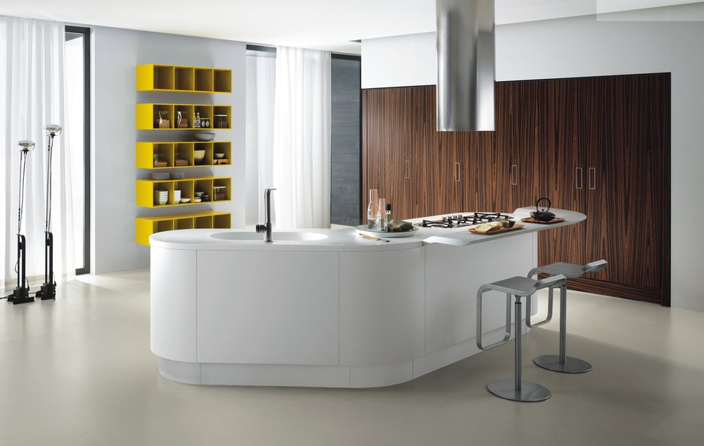 Contemporary style kitchen with a lot of open shelves