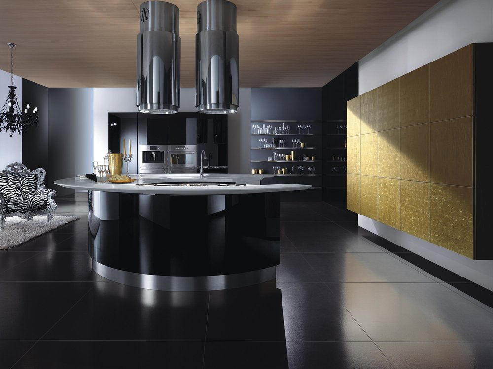 Contemporary style kitchen with black tiled floor