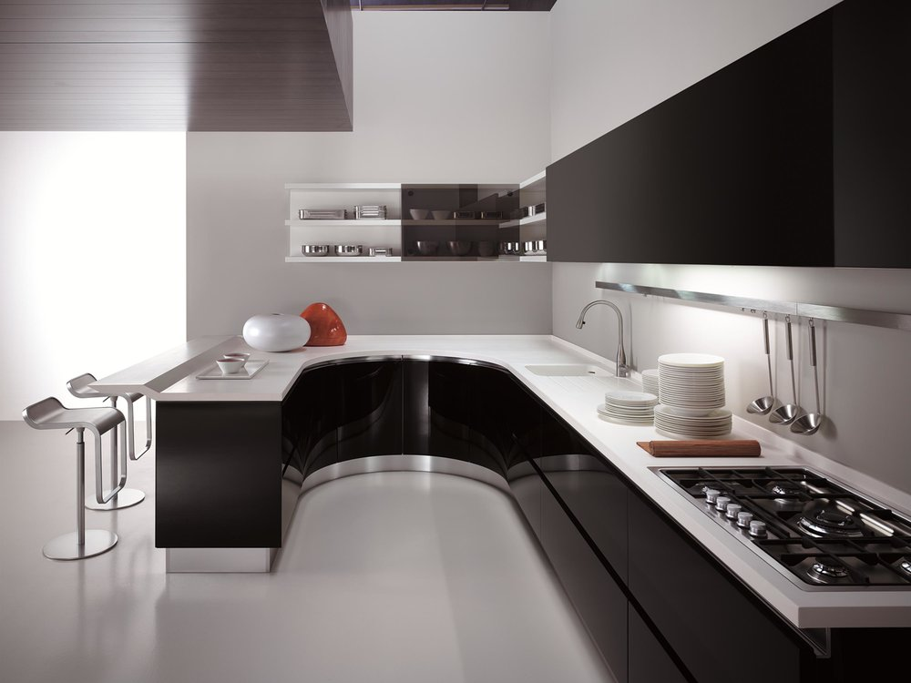 Contemporary style kitchen with range and open shelves