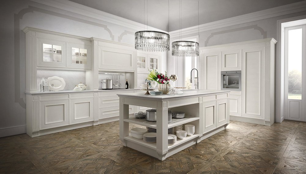 Contemporary style kitchen with under counter open shelve