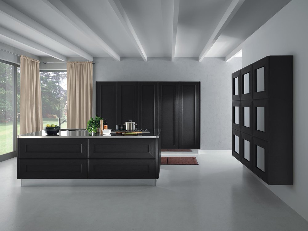 Contemporary style kitchen with two toned theme