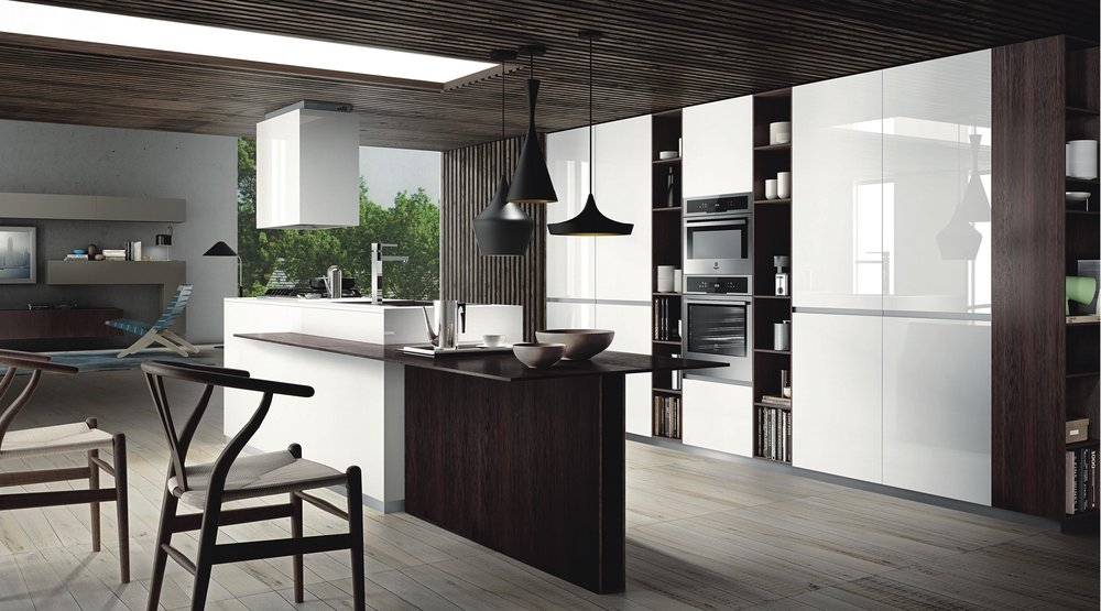 Contemporary style kitchen with three pendant light fixtures