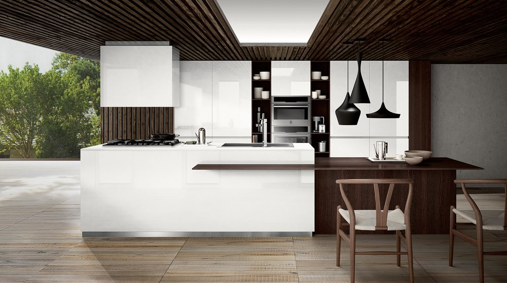 Contemporary style kitchen with wooden floor