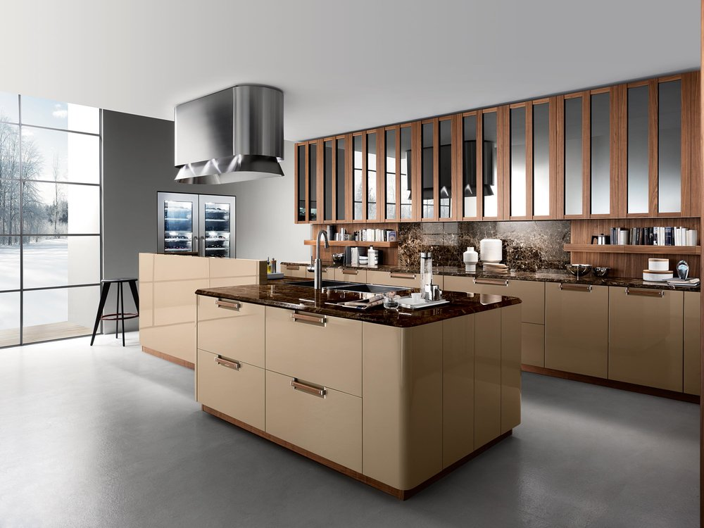 Contemporary style kitchen with custom built under counter cabinets