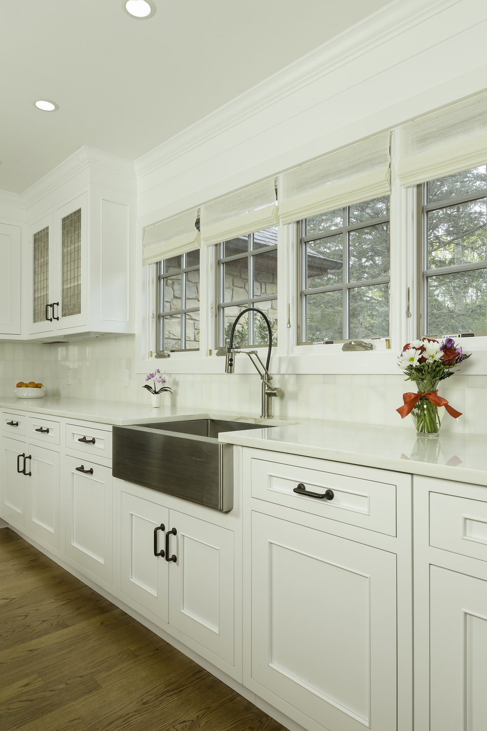 Contemporary style kitchen with four small windows