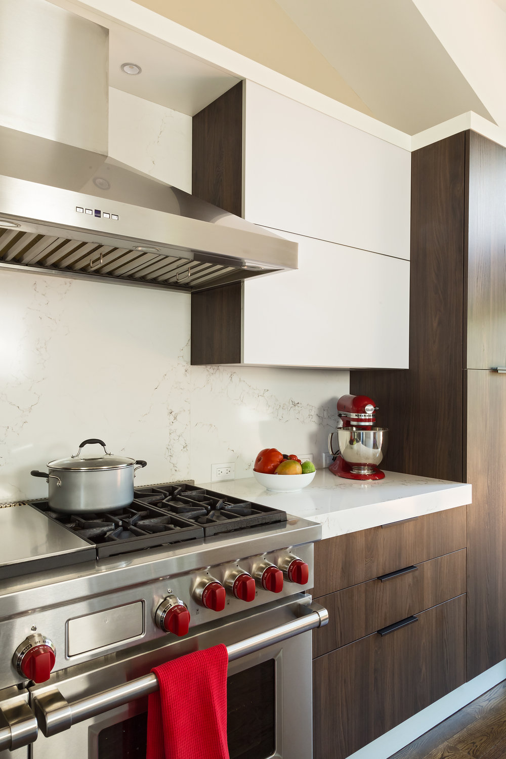 Contemporary style kitchen with range oven and range hood
