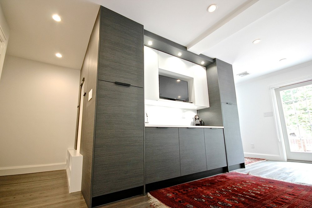 Contemporary style kitchen with custom built cabinet