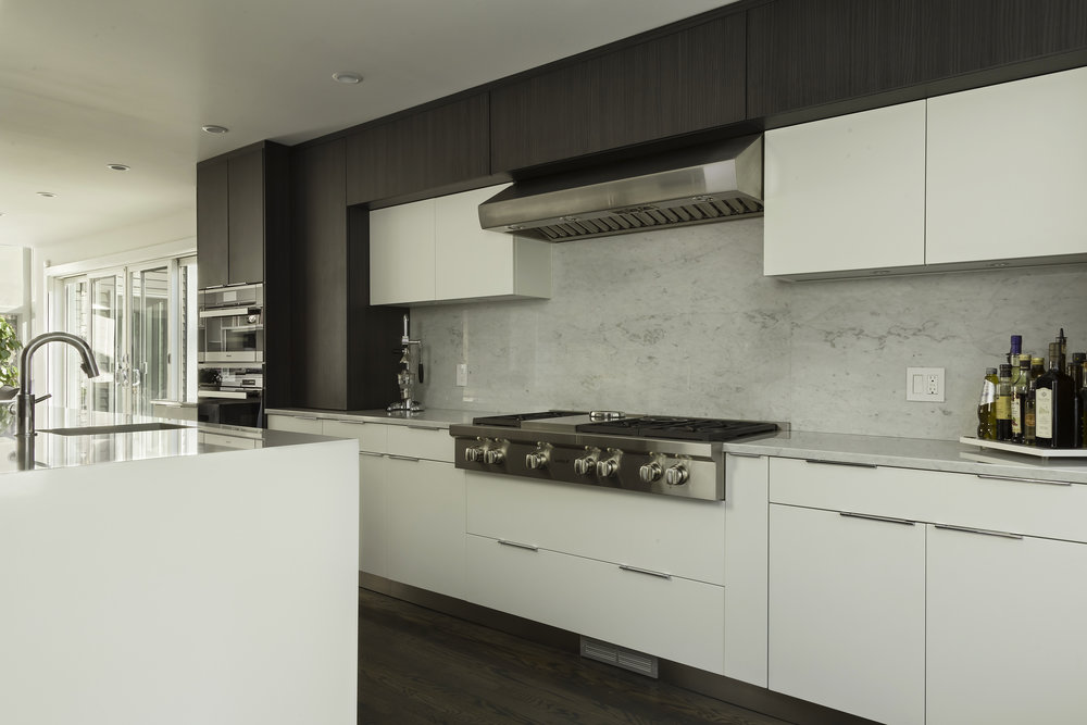 Contemporary style kitchen with range and range hood