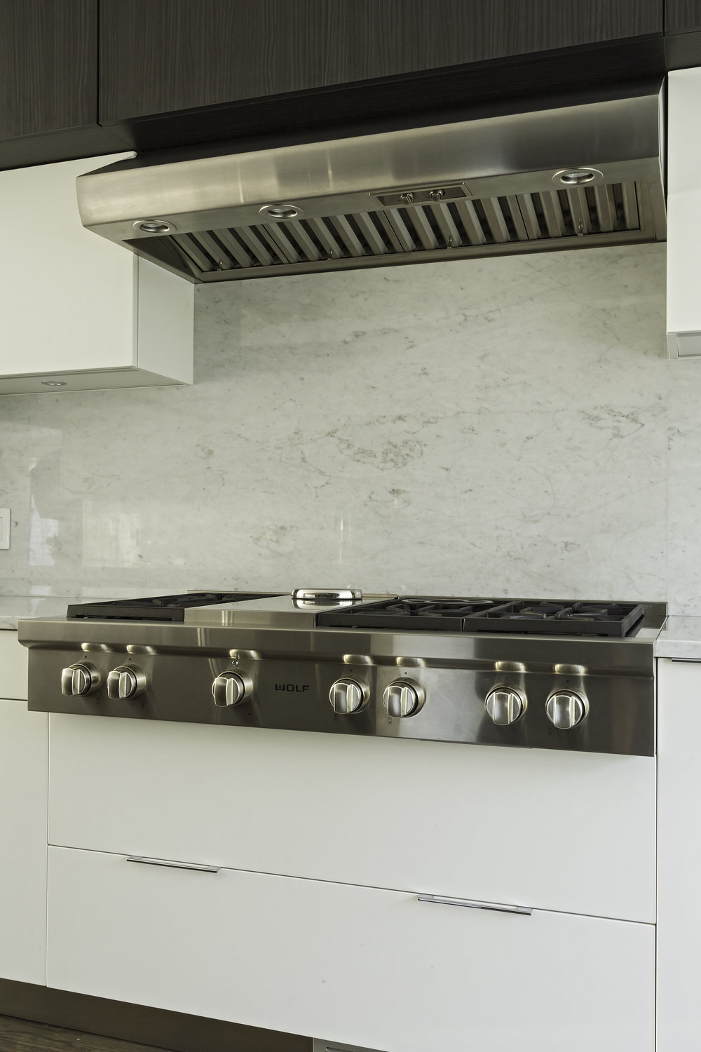 Contemporary style kitchen with range and traditional range hood