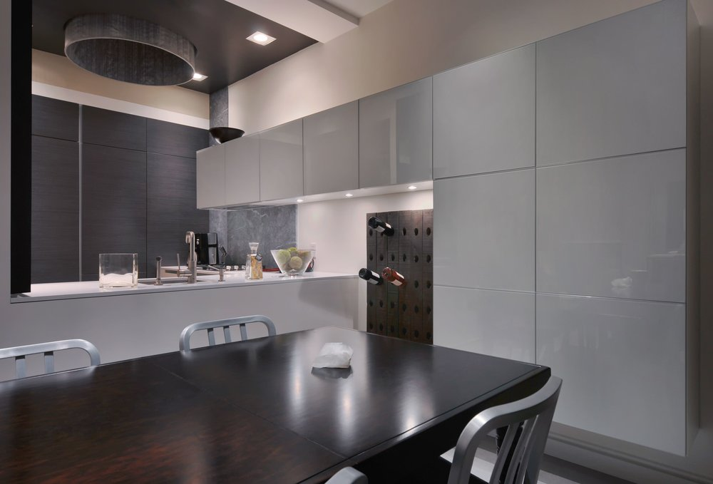 Contemporary style kitchen with wine storage