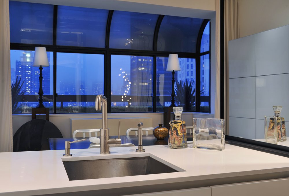 Contemporary style kitchen with single hand faucet and sink
