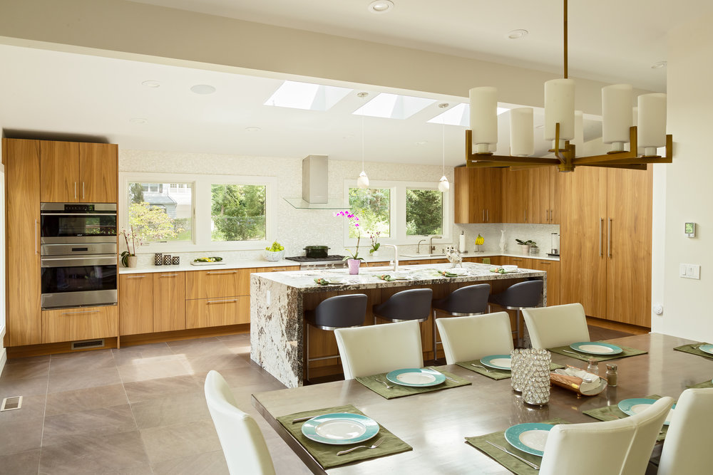Contemporary style kitchen with candle chandelier