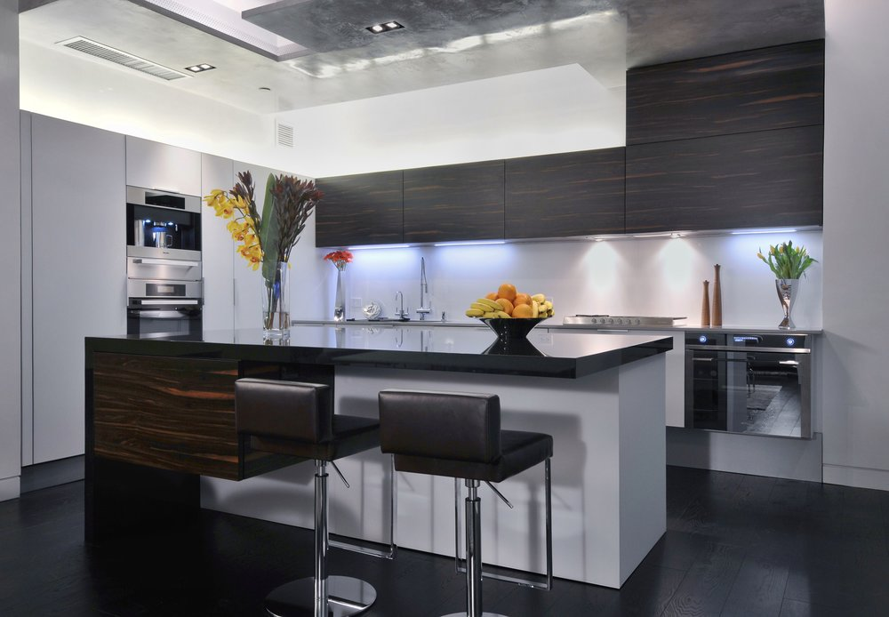 Contemporary style kitchen with dark wooden floor