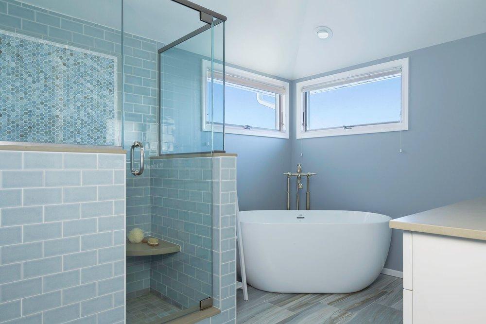 blue tile bathroom stand up shower