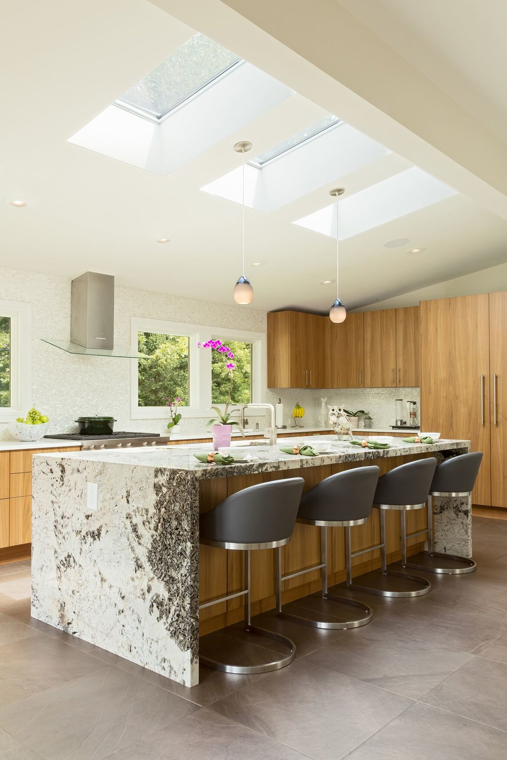 waterfall countertops with modern design