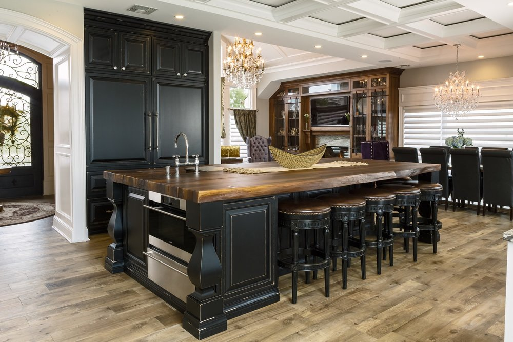 Traditional style kitchen with two crystal chandelier