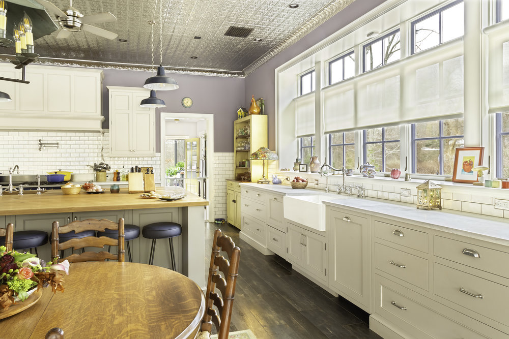 Modern country kitchen with windows