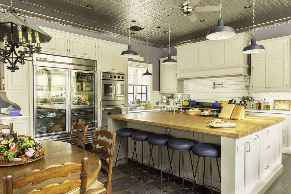 Modern country kitchen with contemporary stools