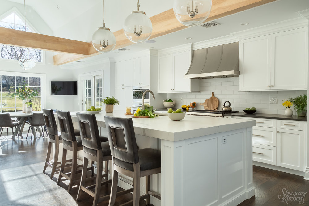 """Transitional style kitchen with beam and 3"""" quartz countertop"""