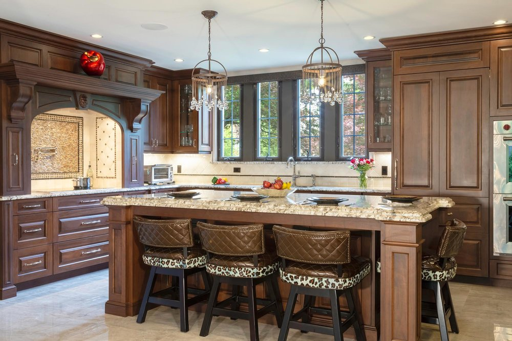 Traditional kitchen with rich dark walnut cabinetry